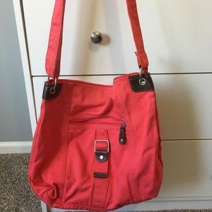 Large coral satchel